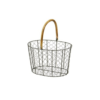 RATTAN HANDLE WIRE BASKET Small
