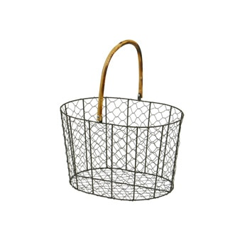 RATTAN HANDLE WIRE BASKET Large